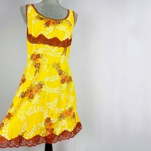 Yellow floral vintage lingerie nightgown slip dress